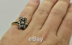 19e C. Victorienne 9k Or, Émail Noir Et Diamants Memento Mori / Deuil Skull Ring
