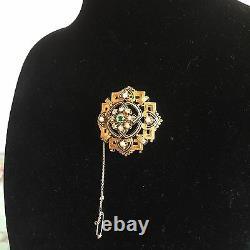 19th Century 18k Or Jaune Et Perles De Diamant Brooch Avec Émail Noir