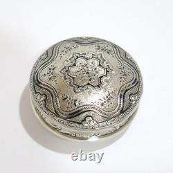 2.25 Argent Sterling Gilded Intérieur Noir Enamel Antique Floral Snuff/pill Box