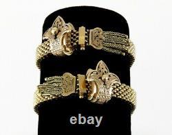 2 Antique Victorien 1800s 14k Or Jaune Bracelets En Émail Noir