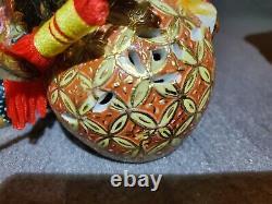 2 Vtg Céramique Porcelaine Émail Noir/rouille/gold Foo Dog Guardian Statue Lion