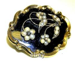 9ct Gold Pearl Diamond Mourning Brooch Pin Cheveux Noir Émail Victorian C1844