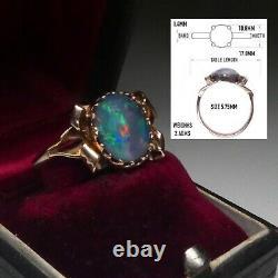 Anneau Antique Australien Solide De Triplet D'opale Noire D'opale 9ct