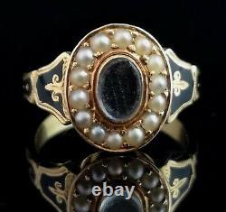 Anneau Antique De Deuil D'or De 18ct, Perle Et Émail Noir, Coiffure, Boîte, Edward