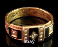 Anneau De Deuil En Diamant Victorien Antique, Or 15ct, Émail Noir Et Perles De Graines