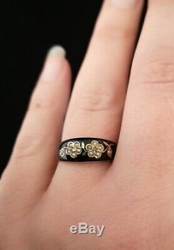 Anneau De Deuil Or Antique Victorien 15ct, Émail Noir, Diamant Et Perle, Forg