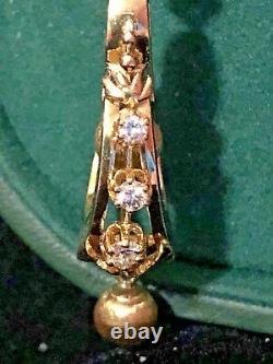Antique 14k/18k Or Diamond Boucles D'oreilles Noir Émail Dangle Rare Élégant