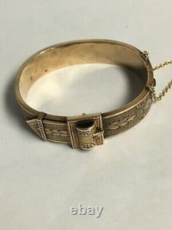 Antique 14k Or Jaune Et Noir Ceinture En Émanel Boucle Bangle Charnière Bracelet