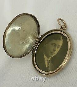 Antique 14k Or Jaune Médaillon Pendentif En Émail Noir Perle Victorienne Deuil Vtg