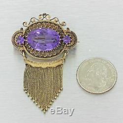 Antique 1880. Or Jaune Victorien En Émail Noir Violet Améthyste Broche