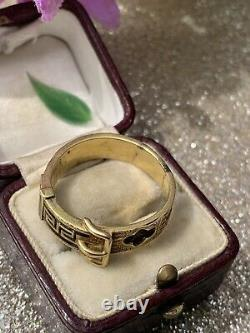 Antique 18ct Yellow Gold Black Enamel Buckle Ring Band