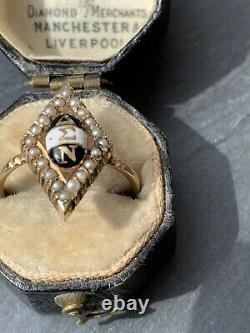 Antique 9ct Pearl Jaune De Marquise D'or Avec L'anneau Noir Et Blanc D'émail