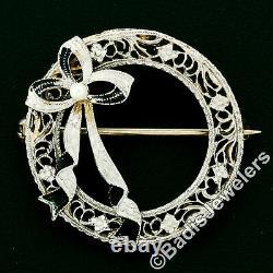Antique Art Deco 14k Gold Seed Pearl Black Enamel Bow Filigrane Brooch Épingle