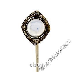 Antique Art Déco 14k White Gold Blue Moonstone Black Émail Gravé Stick Pin