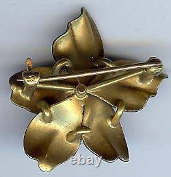 Antique Art Nouveau 14k Or Dimensionnel Noir Émail Fleur Pin Broche