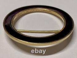 Antique Art Nouveau Carter Gough Co. 14k Or Black Enamel Circle Pin Brooch