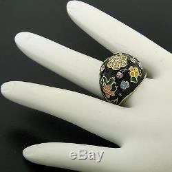 Antique Diamant Noir Bleu Jaune Or 14k Vert Jaune Dôme Émail Bague Fleur