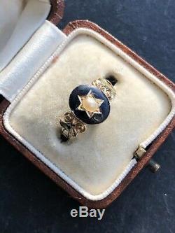 Antique Émail Noir Or Jaune Victorienne Et Pearl Star Deuil Bague Médaillon
