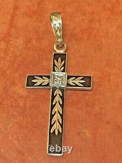 Antique Estate 10k Gold Diamond Pendentif Cross Black Enamel Signé B