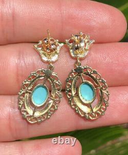 Antique Étruscan 14k Yellow Gold Persian Turquoise - Boucles D'oreilles En Émail Noir Couronne