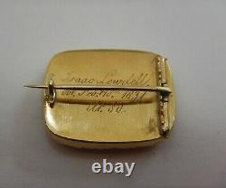 Antique Georgian 15ct Gold, Pearl & Black Enamel Mourning Memorial Brooch 1831