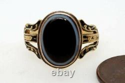 Antique Georgian Gold Black Enamel & Banded Agate Mourning Ring C1779 G Peacock