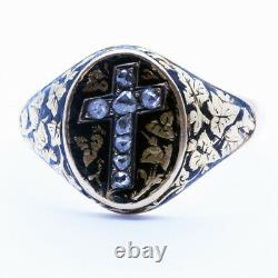 Antique Georgian Ring Religion Reliquary Gold Black Enamel Diamond Cross (6393)