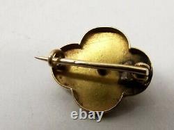 Antique Géorgien 14k Gold Taille D'epargne Noir Émail Brooch Pin Mourning