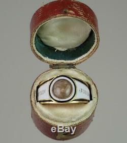 Antique Géorgien Rose Or Blanc Émail Noir Enfant Deuil Bague 1802 Boxed