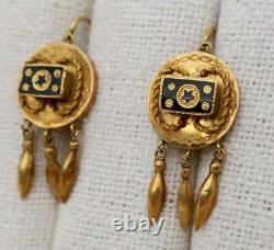 Antique Gold 18k Victorian Dangle Star Earrings Taille D'epargne Black Enamel