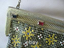 Antique Gold Filigre Red Blue Jewel Frame Black Yellow Enamel Chain Mail Purse