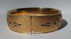 Antique Gold Fill Gravé Floral Design Black Enamel Hinged Bangle Bracelet