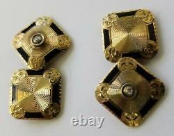 Antique Homme Victorian Edwardian 14k Gold Diamond Black Enamel Cufflinks