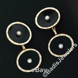 Antique Hommes 14k Or Noir Perles Naturel Onyx Disque Blanc Émail Boutons De Manchette