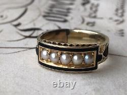 Antique Jaune Or Et Noir Enamel Mourning Ring Set Avec Perles Naturelles