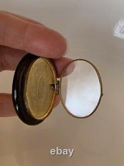 Antique Large Black Enamel Gold Fill Victorian Mourning Locket Pendentif Français