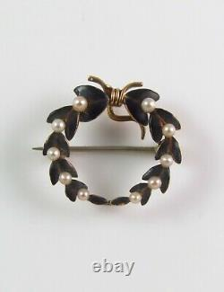 Antique Or 14k Henry Kohn & Sons Black Enamel & Pearl Wreath Watch Pin Brooch