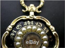 Antique Pendentif Mourning Or 9 Ct Perles De Graine Noire Émail Belle Boîte De Cheveux
