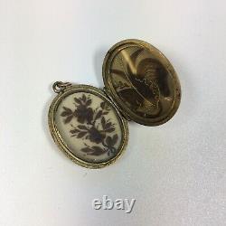 Antique Plaqué Or Dans Memoriam Black Enamel Hair Locket 2,8cm Diamètre
