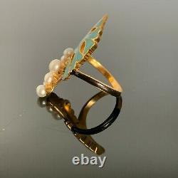 Antique Russe Faberge 14k Or, Émail Bleu Et Noir, 8 Perles, Bague Pour Dames