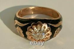 Antique Russe Faberge 14k Rose Or Noir Émail 1.23ct. Anneau Pour Dames Diamantées