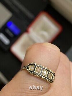 Antique Tested Gold Split Pearl Rose Cut Diamond Black Enamel Ring -uk Taille G
