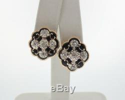 Antique Véritable 1.00ct Old Diamonds Cut Or Noir Émail Jaune Boucles D'oreilles