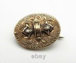 Antique Victorian 10k Gold Taille D'epargne Black Enamel Brooch Pin Mourning