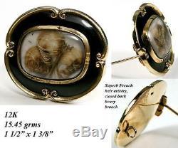 Antique Victorian 12k Or Deuil Broche, Émail Noir & Blond Hair Art