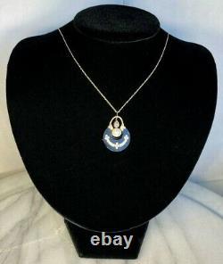 Antique Victorian 14k Rose Or Diamond Pearl Onyx Blanc Pendentif En Émail