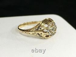 Antique Victorian 18k Yellow Gold Brilliant Diamond & Black Enamel Cluster Ring
