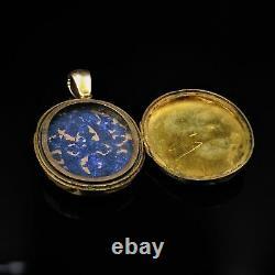 Antique Victorian Black Enamel 15ct 15k Gold Oval Mourning Locket Pendant C. 1880