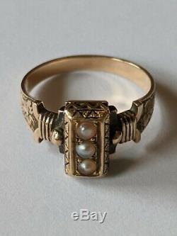 Antique Victorian Black Gold 14k Émail Graine Perle Bague Taille 6 1/2