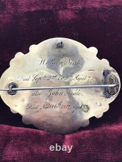 Antique Victorian Broche Or Deuil Émail Verre Écrits Cheveux C1857 Rare